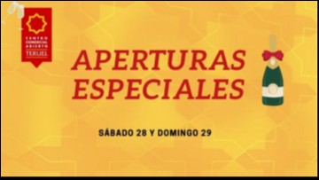 Aperturas especiales sábado 28 y domingo 29